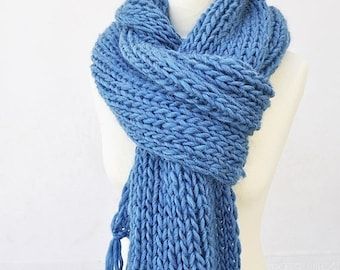 On Sale Knit Scarf, Chunky Wool Scarf, Hand Knit Scarf, Scarf With Tassels, Long Knitted Scarf, Petrol Blue Scarf