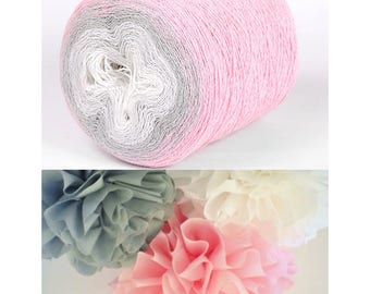 """Unique handcrafted """"SOUFFLE """" cotton yarn by Statex  280 gr 900 m -No 203 pink grey white"""