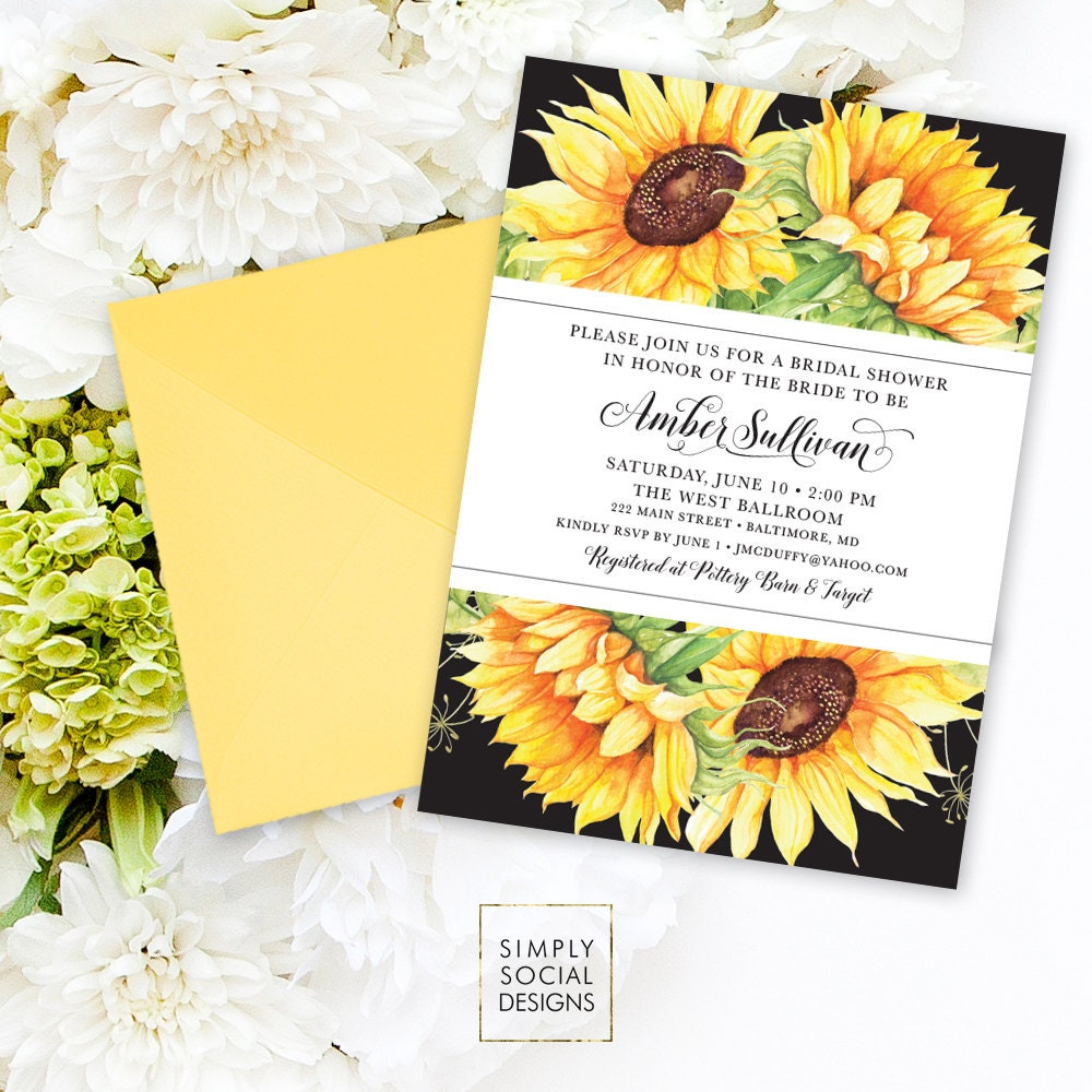 Sunflower Bridal Shower Invitation Watercolor Sunflowers Modern