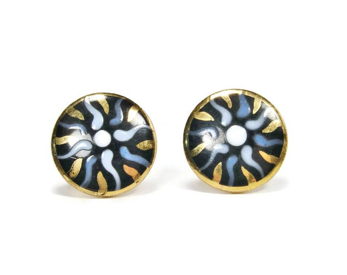 VICTORIA FLEMMING Mid Century Modern Cuff Links, Blue & Black Enamel, Vintage Cuff Links, Suit Accessories