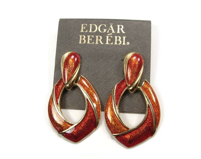 Vintage Edgar Berebi Red Enamel Earrings Mint on Card