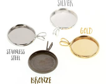10pcs of 14mm Druzy Settings Charm Pendant Tray Bezel Blanks, Made with Brass, Stainless Steel Tone, Silver Tone, Gold Tone, Bronze Tone