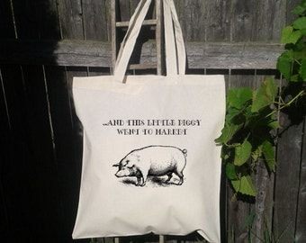 Eco Friendly Canvas Tote Bag - Reusable Grocery Bags - Unique Images - Piggy
