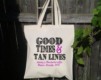 Good Times and Tan Lines Beach Bachelorette Party Tote - Wedding Welcome Tote Bag