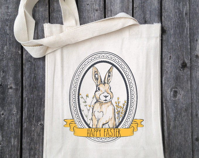 Easter Bunny Tote Bag, Easter Egg Hunt Tote, Personalized Free