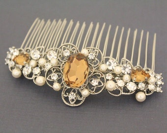 Light Smoked Topaz Crystal Bridal comb,Wedding decorative combs,Bridal hair accessories,Wedding headpiece,Bridal hair piece,Bridal hair comb