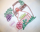 Dish (Tea) Towel Wine Country Design Flour Sack Towel Wine Bottle with Chianti Hand Embroidered Dish Towel