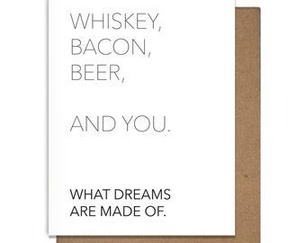 Whiskey Bacon Beer You Funny Letterpress Greeting Cards Just Because Greeting Cards Love Anniversary Girlfriend Boyfriend Husband Wife