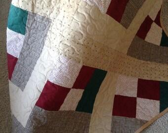 "Green/Wine/Cream 56""x71.5"" - Moda /Henry Glass/Holly Taylor Fabrics -Contemporary/Modern Quilt - Ready to Ship"
