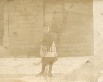 Vintage RPPC Paper Boy The Grit Newspaper