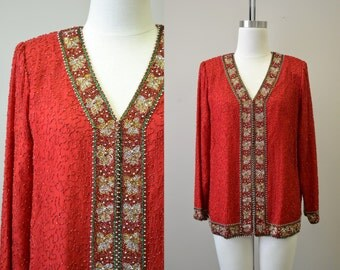 1980s Laurence Kazar Red Beaded Jacket