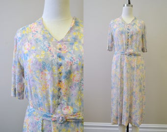 1930s Floral Cotton Voile Dress