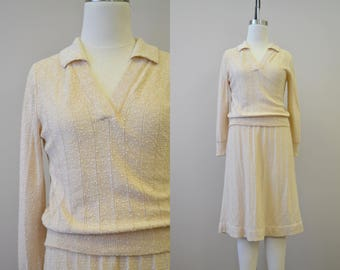 1970s Oatmeal Knit Sweater and Skirt