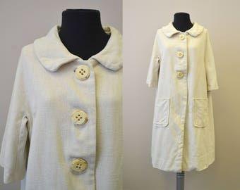 1950s Cream Linen Coat