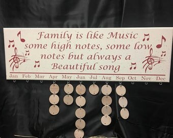 Birthday Board Family Birthday Calendar Family Birthday sign Family Is Like Music But Always a Beautiful Song family celebration music notes