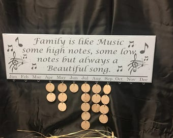 Birthday Board Family Birthday Board Family Birthday sign, Family Is Like Music, But Always A Beautiful Song, Celebration, music notes
