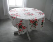 roses tablecloth pink roses cabbage roses cottage decor table linens rustic wedding cotton rectangular tablecloth cottage chic cloth 46x59