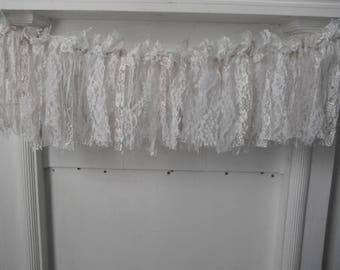 cottage chic lace rag garland white garland wedding decor wedding garland nursery decor shabby decor french country 3 foot garland party