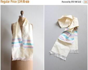 3 DAY SALE vintage 1950s raw silk opera scarf - silk eyelash fringe / bubblegum pink & turquoise stripes - silk neck scarf / 50s striped sil