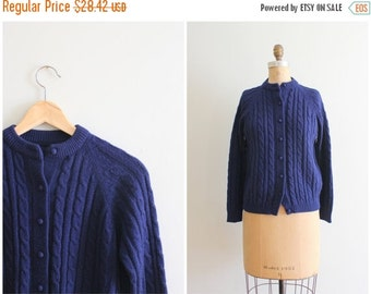 20% SALE vintage 1960s cable knit cardigan sweater - navy blue granny sweater / vintage 60s ladies sweater / 60s cardigan - preppy sweater
