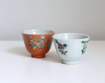 two Japanese sake cups - pair of hand painted floral cups / vintage porcelain cups - orange & white sake cups / tiny hand painted cups