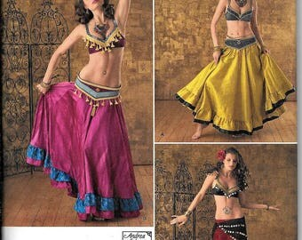 Simplicity 2158 Middle Eastern Belly Dancing Harem Spanish Mexican Skirt & Bra Top Sewing Pattern Size 6, 8, 10, 12