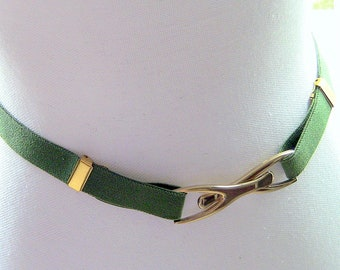 Belt, Vintage Elastic Belt, Olive Green Adjustable Elastic Belt, Stretch Belt, Adjustable Belt, Vintage Belt, Vintage Stretch Belt