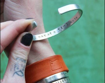 Secret Message Hand Stamped Cuff Bracelet - Custom Cuff