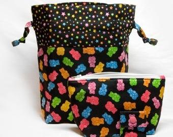 "New! ""Bright Gummy Bears"" 2 Piece Knitting Bag Project Set"