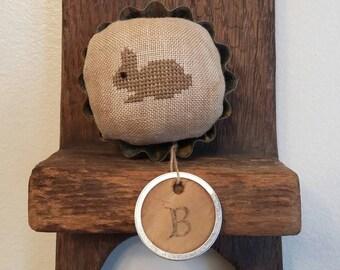"Primitive cross stitch ""B"" is for bunny mini pinkeep folk art handmade"