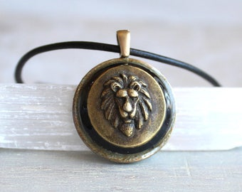 black lion necklace, mens jewelry, lion jewelry, mens necklace, unique gift, nature necklace, animal necklace, mens gift, leo necklace