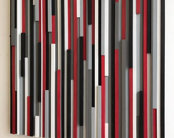 Wood Wall Art - Reclaimed Wood Art - Lines - 36 x 36 - Wood Art Red Black Grays