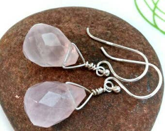 Rose quartz earrings - rose quartz briolette earrings - wire wrapped briolette gemstone earrings - pink earrings - sterling silver earrings