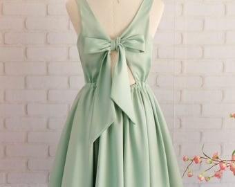 Sage green dress sage green bridesmaid dresses green party dress green prom dress green cocktail dress green backless dress sage dress