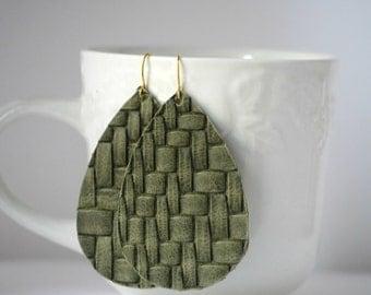 Olive Green Basketweave Basket Weave Braided Leather Drop Teardrop Earrings