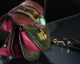 Leather Purse Hand Laced and Inlaid with Micro Macrame and Stones, featuring Amazonite