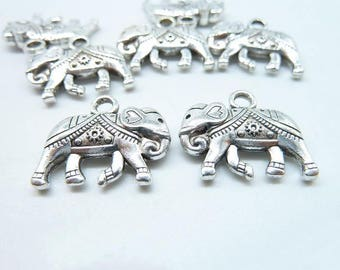 20pcs 16x20mm Antique Silver 3D Elephant Charm Pendant C6516