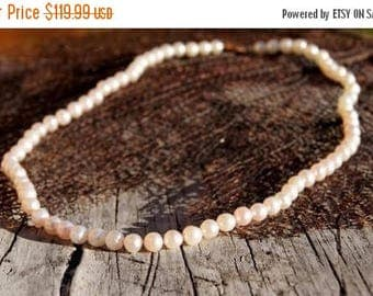 Spring SALE Cultured Pearl 14K Gold Princess Length Pink Pearl Necklace