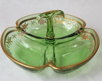 Antique Hand Enameled Green Glass Dish