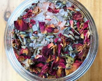 Herbal Foot Bath - Made with Bath Salts, Flower Petals, and Frankincense Essential Oil - Relax and let all your cares slip away!