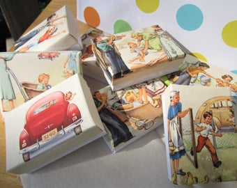 Children's Party Favor Boxes Vintage Tom and Susan Book Pages Set of Eight