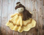 Belle Inspired Lovey/ Security Blanket/ Stuffed Toy/ Plush Toy Doll/ Soft Toy Doll/ Amigurumi Doll/ Baby Doll-  MADE TO ORDER