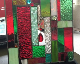 stained glass ON SALE NOW... Red and Green Stained Glass suncatcher