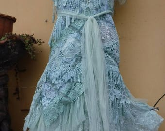 """20%OFF vintage inspired shabby bohemian gypsy dress ..smaller to 40"""" bust..."""