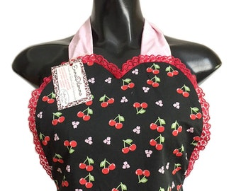 Rockabilly Black Cherry Print/Pink White Pin Dot Reversible Pocketed Pin Up Apron FREE OZ POSTAGE