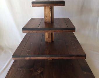 Large 4 Tier Solid Wood Rustic Style Cupcake Stand.  Holds up to 232 Cupcakes.