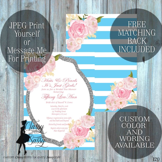 Bridal Shower invitation, Hats and Pearls Invitation Tea party Shower, Blue Invitation, Tea pArty Luncheon Bridal Shower 120