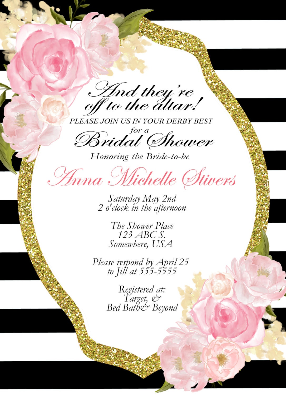 kentucky derby theme shower invitation classic tea party shower tea party luncheon bridal shower invitation 002