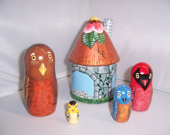 Hand painted Bird Feeder and Birds stacking nesting doll set