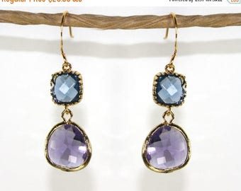 20% off. Angles and dangles. A Square and a teardrop, sparkly earrings, framed gold amethyst purple & navy blue  faceted gems